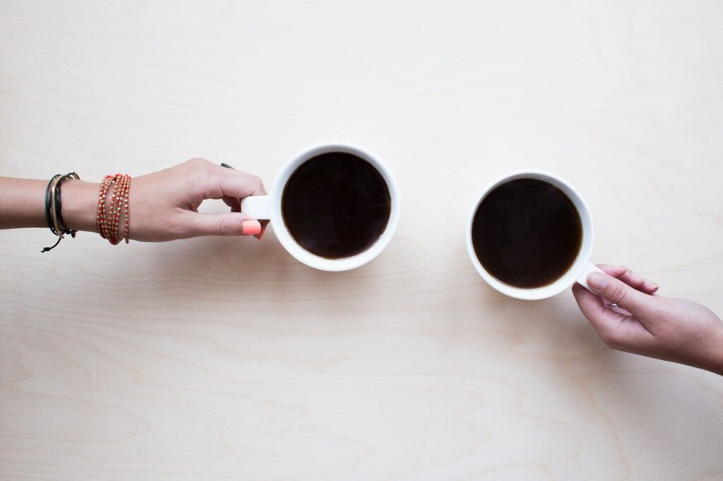 coffee, friends, chat