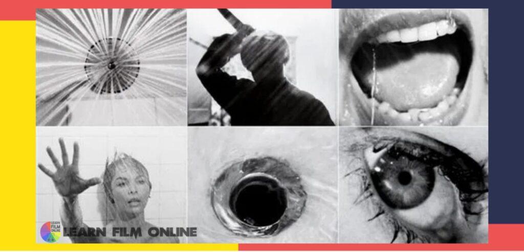 Different shots of Psycho movie murder scene